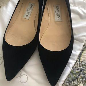 JIMMY CHOO - Alina Black Suede Flats - Size 37